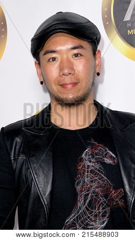 Stephen Yang arrives at The Hollywood Music in Media Awards at the Avalon Hollywood in Los Angeles, CA on Nov. 16, 2017.