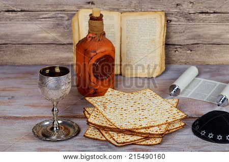 Wine And Matzoh Jewish Holiday, Holiday Symbol Jewish Passover Bread