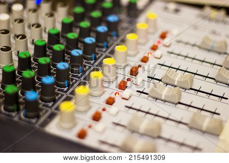 Closeup Mixing Console  of a big HiFi system  The audio equipment, control panel of digital studio mixer. Close-up