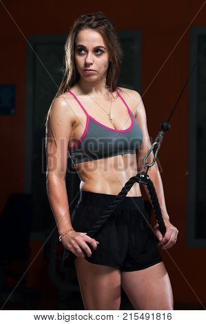 Sexy fitness woman wearing sports cloth holding the handle of fitness machine in the gym.