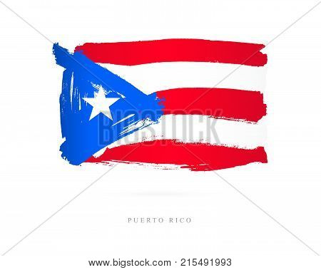 Flag of Puerto Rico. Vector illustration on white background. Beautiful brush strokes. Abstract concept. Elements for design.