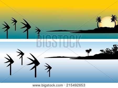 The three fishes icon from the Cairns esplanade Queensland Australia depicting the fish against an orange tropical sunset over the sea with palm trees vector illustration