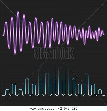 Vector digital music equalizer audio waves design template audio signal visualization signal illustration. Multitrack editing system soundtrack line bar spectrum electronic.