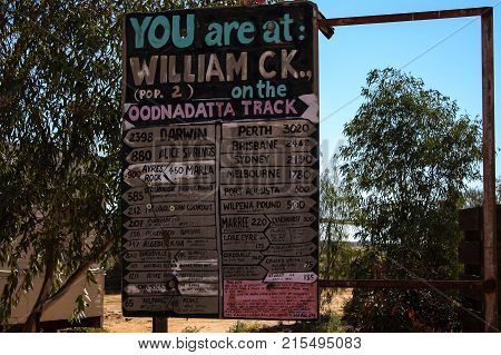 an Australian signpost found at William Creek, in the Australian Outback