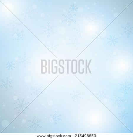 Winter blue sky with falling snow snowflake. Holiday Winter background for Merry Christmas and Happy New Year. Vector illustration