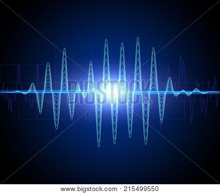 Abstract blue audio spectrum waveform on black background