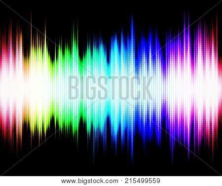 Abstract rainbow audio spectrum waveform equalizer on black background