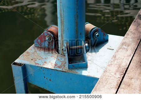 Floating Dock Pole. To help the boat dock is still afloat.