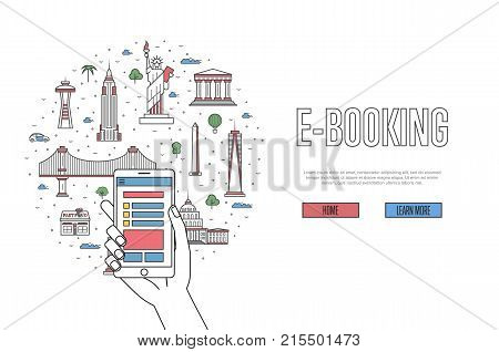 E-booking poster with indian famous architectural landmarks in linear style. Online tickets ordering, mobile payment vector concept with smartphone in hand. Asian traveling, India historic attractions