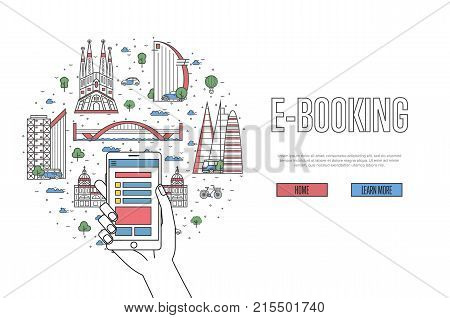 E-booking poster with spanish famous architectural landmarks in linear style. Online tickets ordering, mobile payment concept with smartphone in hand. World traveling, Spain historic attractions