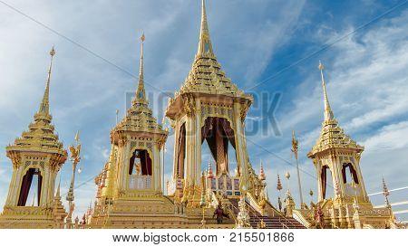 BANGKOK THAILAND - NOVEMBER 24: The Royal Crematorium of His Majesty King Bhumibol Adulyadej at Sanam Luang Bangkok Thailand on November 24 2017