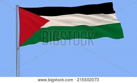 Isolate Flag Of Palestine On A Flagpole Fluttering In The Wind On A Blue Background, 3D Rendering.
