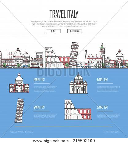 Country Italy travel vacation guide with most important architectural attractions in trendy linear style. Italian skyline with national famous landmarks. Worldwide traveling and journey vector concept