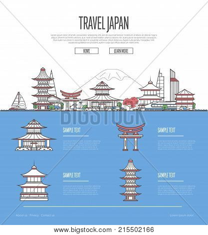 Country Japan travel vacation guide with most important architectural attractions in linear style. Japanese skyline with national famous landmarks. Worldwide traveling and journey vector concept.