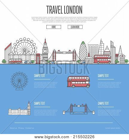 London city travel vacation guide with most important architectural attractions in trendy linear style. London skyline with national famous landmarks. Worldwide traveling and journey vector concept