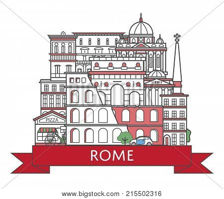 Travel Rome poster with national architectural attractions in trendy linear style. Roman famous landmarks on white background. Italian tourism advertising and worldwide voyage vector concept.