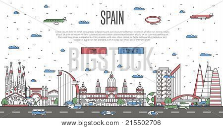 Barcelona skyline with national famous landmarks in linear style. Spanish traveling vector concept, touristic tour advertising with Barcelona historic architectural attractions on white background.