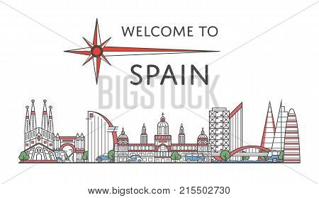 Welcome to Spain poster with famous architectural attractions in linear style. Worldwide traveling and time to travel concept. Barcelona city landmarks panorama, european tourism vector background.