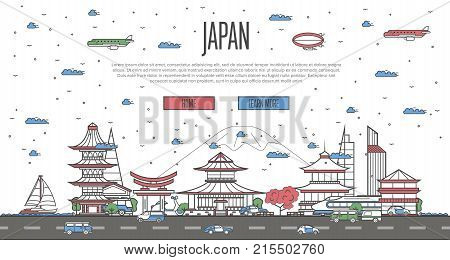 Japanese skyline with national famous landmarks in linear style. Worldwide traveling vector concept, touristic tour advertising with japanese historic architectural attractions on white background
