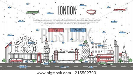 London skyline with national famous landmarks in trendy linear style. Worldwide traveling vector concept, touristic tour advertising with London historic architectural attractions on white background.