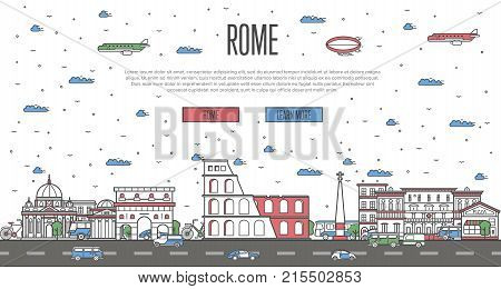 Roman skyline with national famous landmarks in trendy linear style. Worldwide traveling vector concept, touristic tour advertising with italian historic architectural attractions on white background.