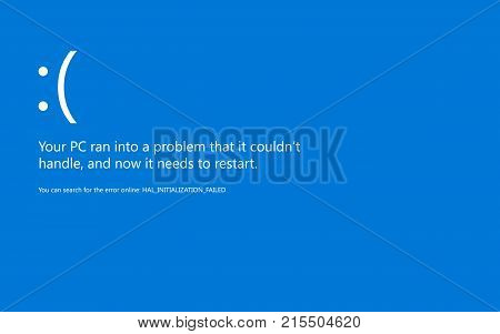 Modern blue screen of death BSOD error. Start of software usb connection devices sleep mode and hardware problem. System Crash Report Background. Vector Illustration