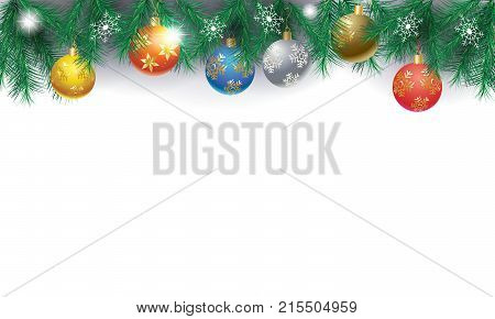 Border of fir twigs decorated with red, yellow, blue, gold, silver Christmas baubles, balls on silver background with large snowflakes vector illustrations, Christmas and Happy New Year blank page template for greeting card.
