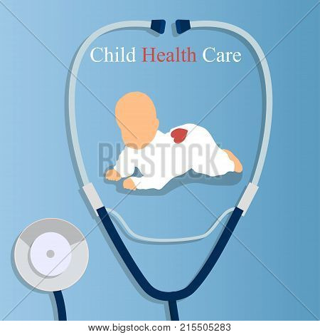 Original trendy vector illustration of realistic Stethoscope and newborn. Medical equipment collection. Child heart care, children health