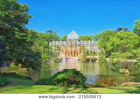 Crystal Palace (palacio De Cristal) In Buen Park Del Retiro (parque De El Retiro). Madrid.