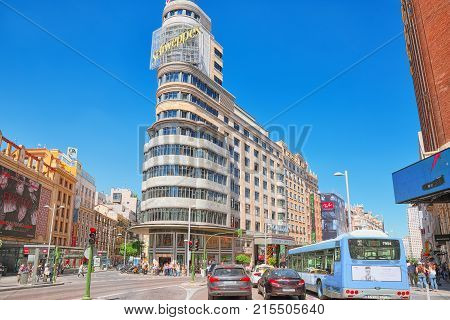 Carrion Building  On Gran Via Street In Madrid, Main Shopping And  Financial Street In Capital Of Sp