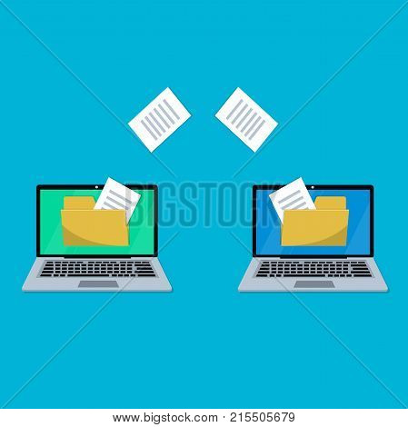 Exchanging files. Copying files between laptops. Illustration of files or documents backup