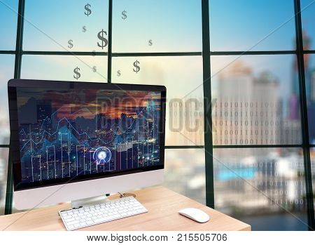 the computer on the wood table in front of the glass window over the blurred photo of cityscape background