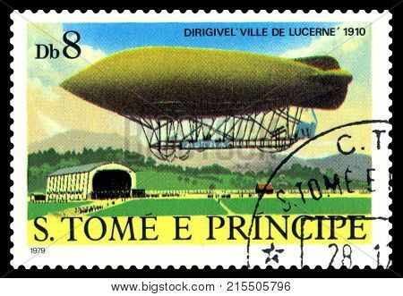 STAVROPOL RUSSIA - November 11.2017: A stamp printed in Sao Tome and Principe shows an Dirigible Ville de Lucerne 1910 cirka 1979