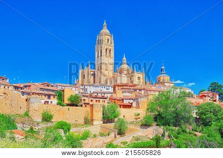 Panoramic Landscape At The Ancient City And Cathedral Of Segovia, Near Madrid. Spain.