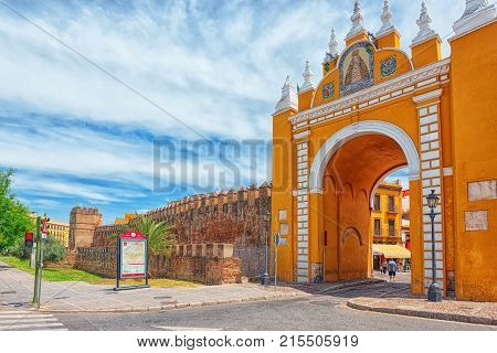 Arco De La Macarena On Wall Of Seville -series Of Defensive Walls Surrounding The Old Town Of Sevill