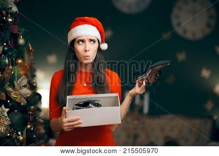 Sad Woman Hating Receiving Flat Shoes as Christmas Present