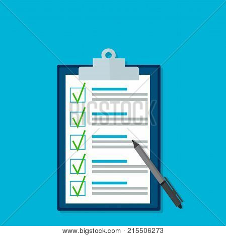 Exam test results paper sheet or checklist, filled quiz document. Vector illustration of quiz or questionnaire with correct answers