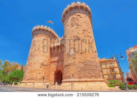 Towers Of Quart (torres De Quart) Is One Of The Twelve Gates ,of The Old City Of Valencia. Spain.