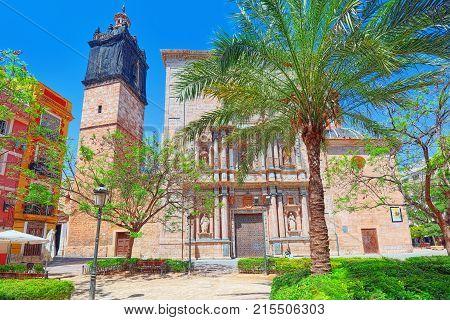 Square of Carmen (Plaza del Carmen Placa del Carme) and Churh of the Parish of the Holy Cross in Valencia. Spain. poster