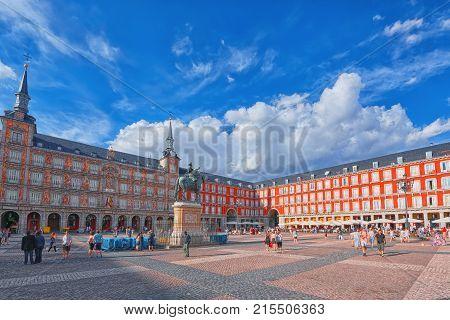 Tourists On Plaza Mayor. Plaza Mayor - One Of Central Squares Of The Spanish Capital. Located From A