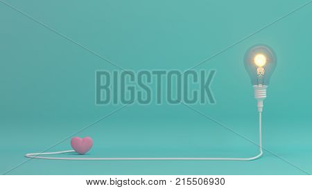 Love is bright, there is hope, love is beautiful heart valentines day concept on pastel background,love colorful for copy space minimal object concept pastel colorful lovely art 3D illustration