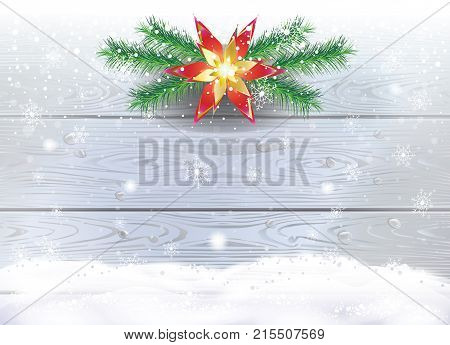 Christmas decoration fir twigs garland snowfall, snowflakes falling, snowfall, snow mountain, silver lights, wooden background. Winter Holiday, New Year greeting card background. Vector template snowy landscape.