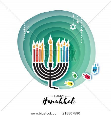 Origami Happy Hanukkah. Greeting card for the Jewish holiday. Menorah traditional candelabra and burning candles Hanukkah dreidel with letters of the Hebrew alphabet. Star of David. Paper cut Vector