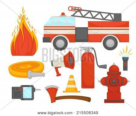 Fire protection and extinguishing equipment tools icons. Vector flat set of firefighter extinguisher, water hydrant hose and fire engine or siren and safety cone and flashlight for fire protection