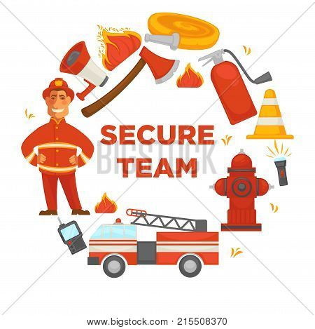 Fire protection secure team and extinguishing equipment tools poster. Vector flat icons of firefighter, extinguisher, water hydrant hose and engine car or siren and fire protection ax