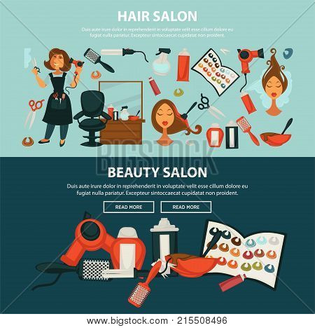 Woman hairdresser beauty salon web banners flat design template for hair coloring and styling. Vector professional coiffeur equipment of dye, scissors or hairbrush comb and dryer in hairdressing salon