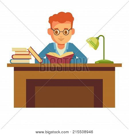 Boy student reading book in library in glasses or bookshop and sitting on chair at table with lamp. Vector flat design of people read and study education or pupil learning lesson
