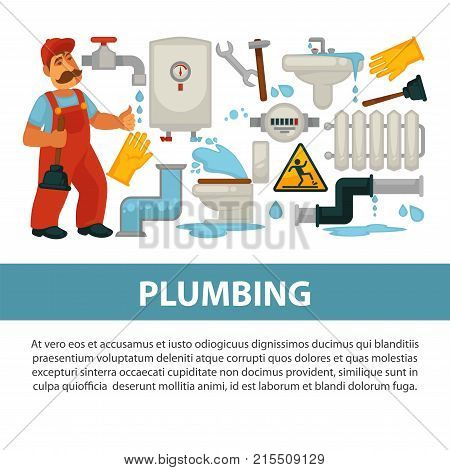 House plumbing service poster of plumber work tools. Vector flat desing of kitchen sink and bathroom sewerage and water pipe leakage fixture