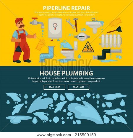 House plumbing and home sewerage pipeline repair service web banners template. Vector flat design of kitchen sink and bathroom sewerage and water pipe leakage fixture and plumber work tools