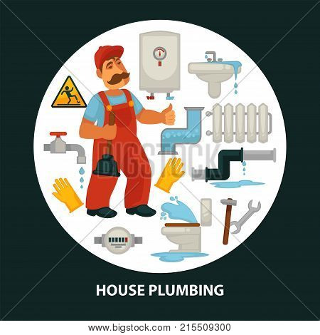House service poster for kitchen or bathroom sewerage and leakage plumber repair service equipment. Vector vector flat of plumbing work tools, wrench for water tap, toilet plunger and boiler